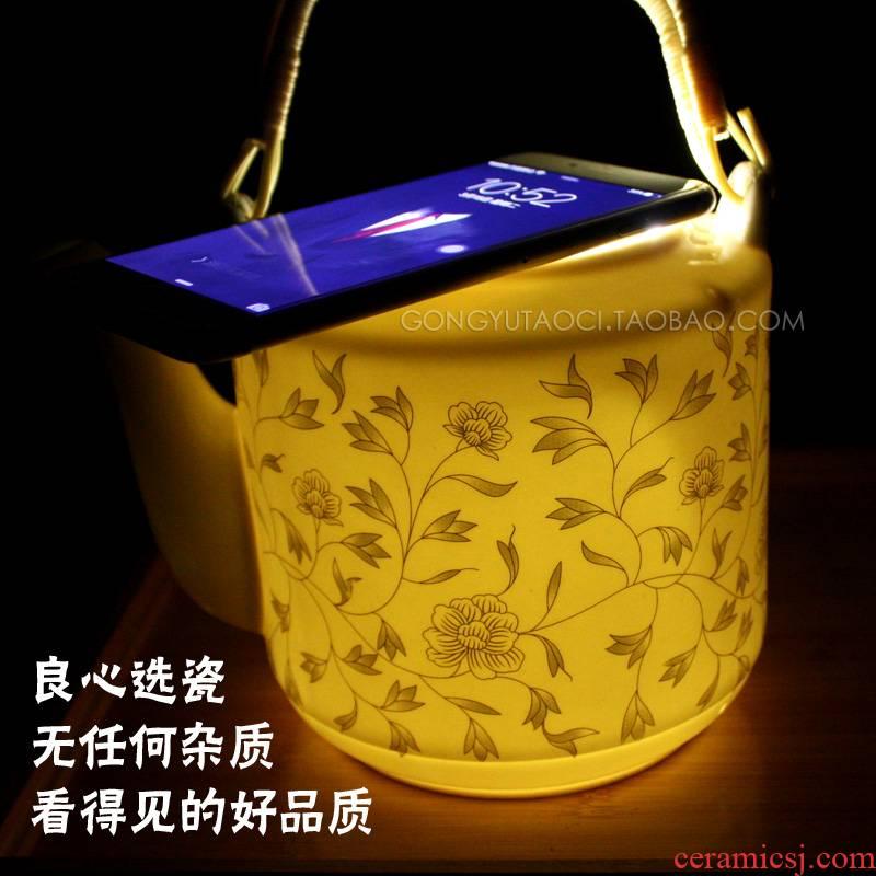 Large 2/3/4 rising household ceramics jingdezhen tea kettle suit girder teapot cold hot kettle explosion - proof