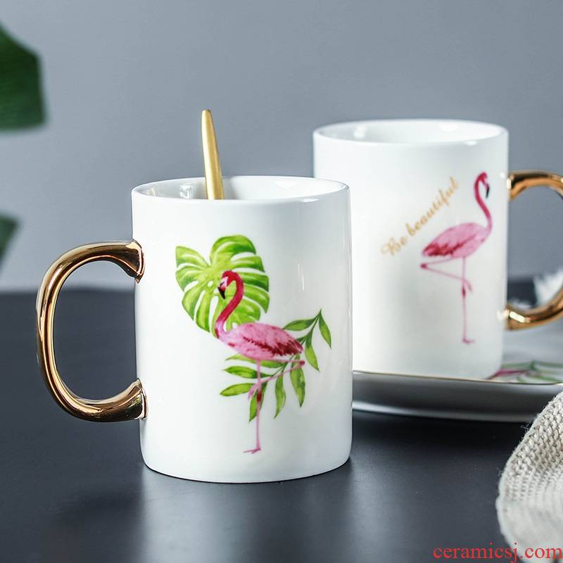 Qiao mu flamingos mark ceramic cups of milk for breakfast a cup of coffee cup cup send creative ins thermal cups