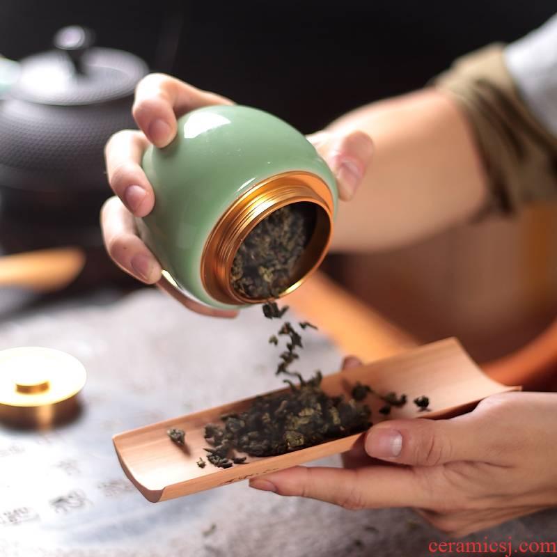 Qiao mu QYX caddy fixings longquan celadon portable small metal cover ceramic seal storage POTS of tea