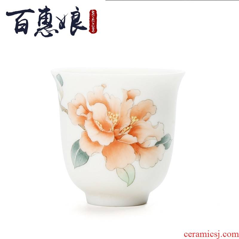 (niang suet jade dehua white porcelain masters cup manual hand - made ceramic cups kung fu tea set undressed ore jade porcelain products