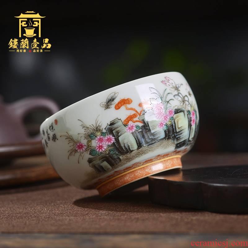 Jingdezhen ceramic all hand - made pastel recent masters cup kunfu tea, tea cup personal single cup sample tea cup