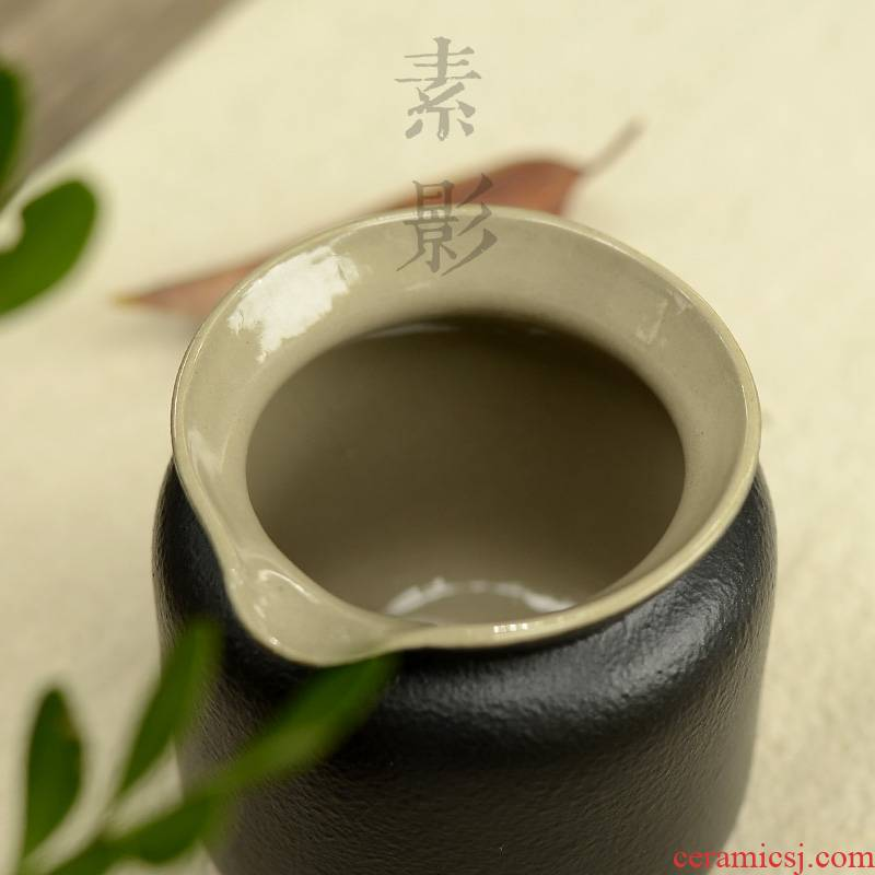 Qiao mu coarse pottery glaze stone fair keller of black points by hand and a cup of black zen tea cups