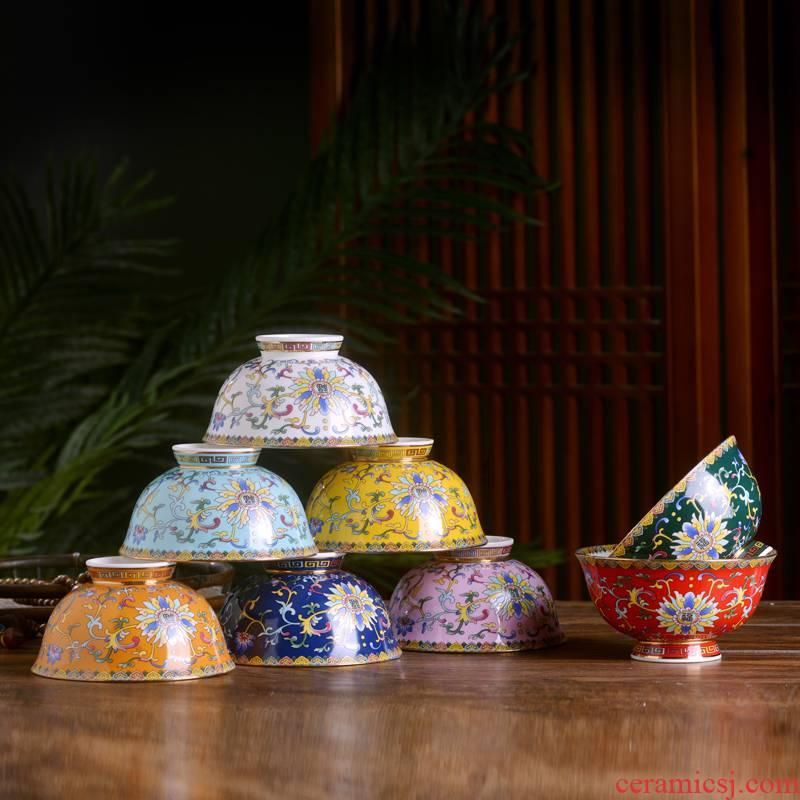Jingdezhen ceramic colored enamel bowls of Chinese style household ipads porcelain tableware rice bowls rainbow such as bowl of porridge bowl restaurant tableware custom