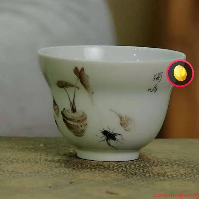 High temperature after color ink caterpillar fungus or a cup of jingdezhen ceramic cups masters cup personal special sample tea cup