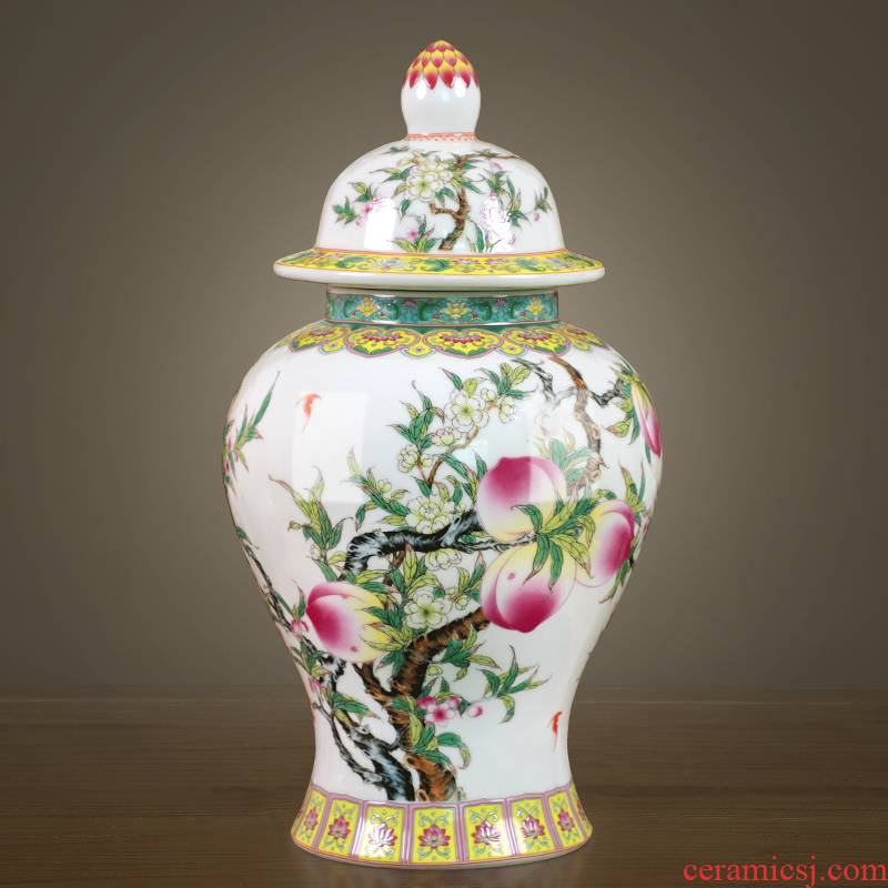 Jingdezhen ceramics nine peach figure general tank of storage tank of the new Chinese style household furnishing articles sitting room TV cabinet decoration
