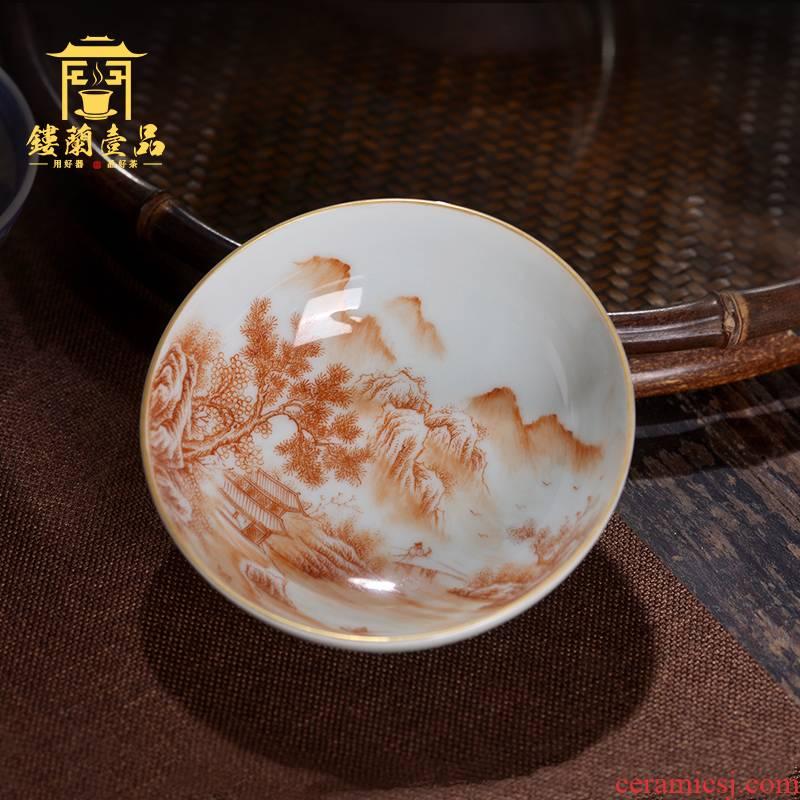 Jingdezhen ceramic all hand - made alum red landscape poetry masters cup kunfu tea, tea cup single cup sample tea cup