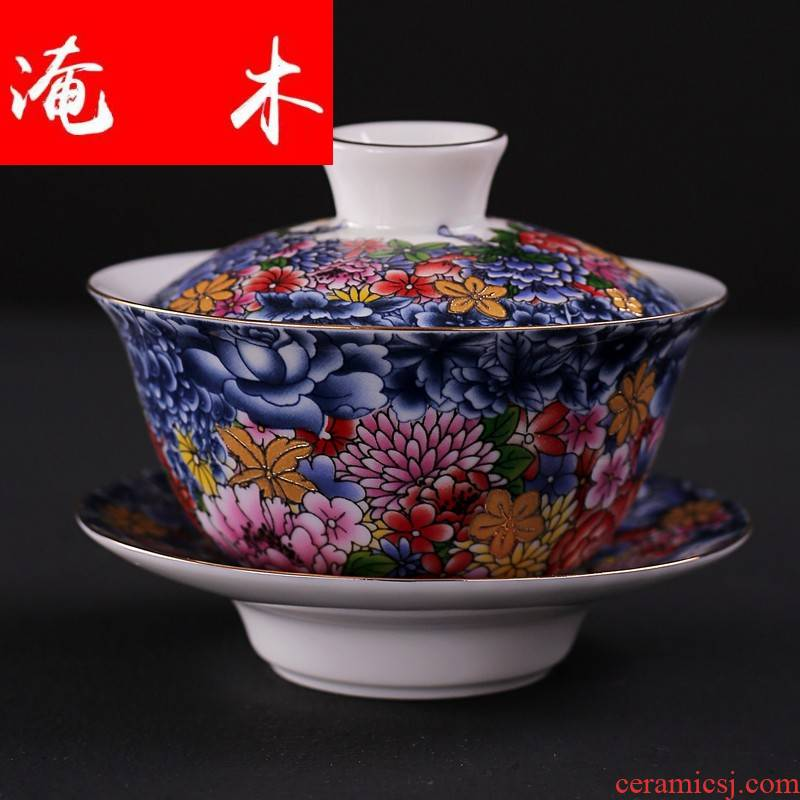 Submerged wood tureen household checking ceramic cups tea only three large bowl of blue and white porcelain enamel see kung fu tea set