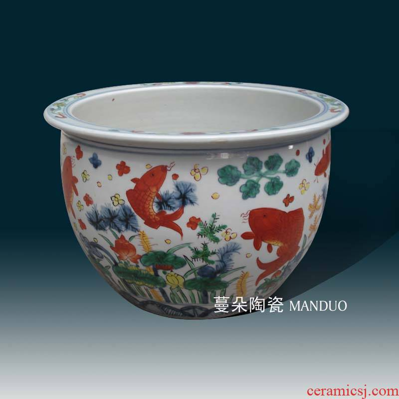 Jingdezhen Ming jiajing year colorful fish VAT blue color red fish algae lines cylinder