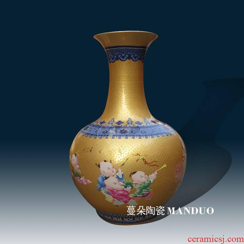 Jingdezhen blue and white porcelain vase golden tong qu art vases, about 50 cm high elegance decoration vase