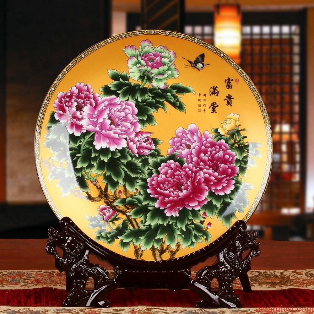Riches and honor peony jingdezhen ceramics decoration plate faceplate hang dish of modern home decoration decoration process