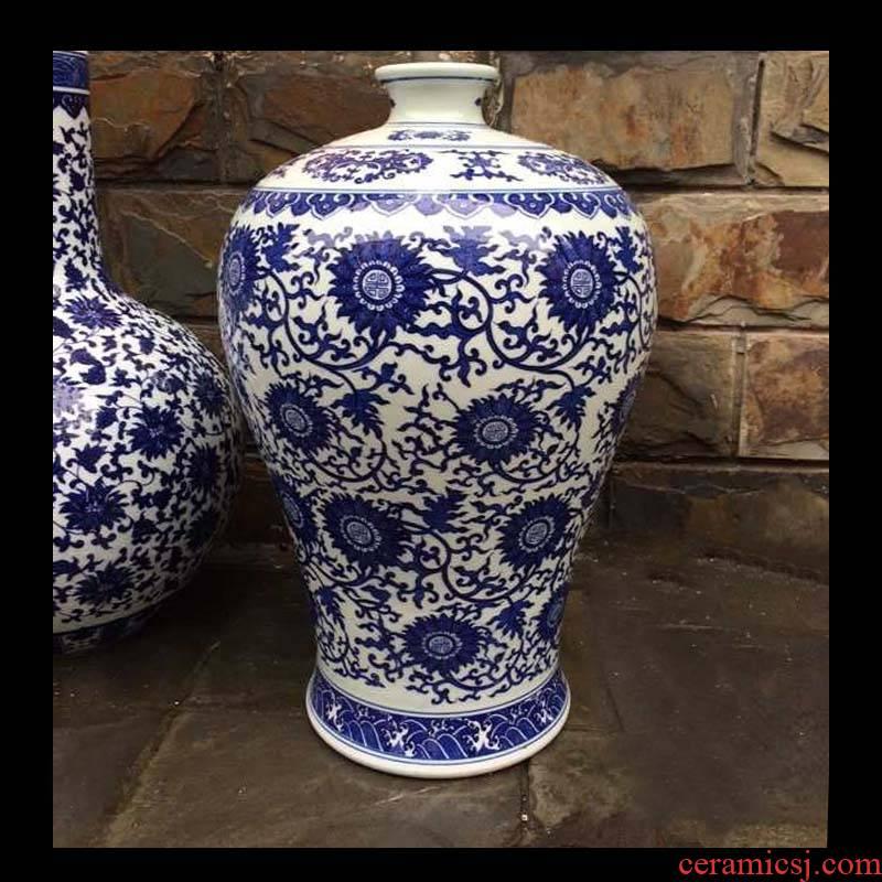 Jingdezhen porcelain bottle may study of sitting room elegant blue and white life of furnishing articles word wrap lotus flower porcelain bottle