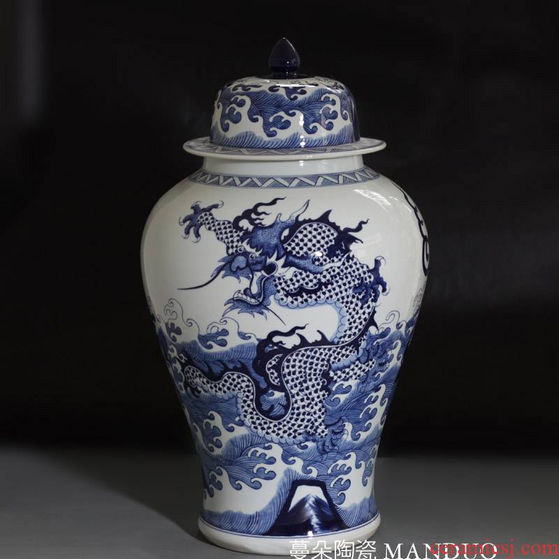 Jingdezhen hand - made dragon the general pot of high - grade ceramic culture cover new Chinese style style decorative vase