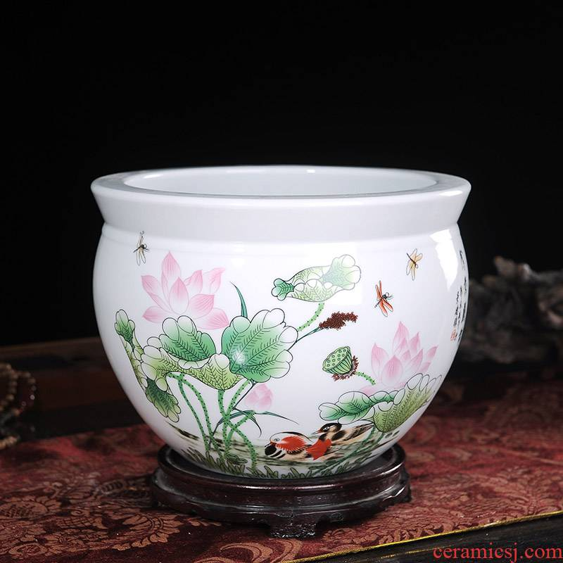 Jingdezhen ceramics basin of water shallow goldfish turtle cylinder water lily wine TV ark, sitting room place ornament
