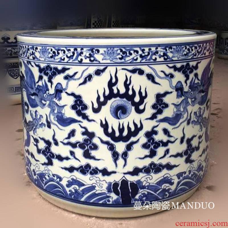 Jingdezhen hand - made ssangyong grain big censer blue and white dragon temple temple supplies high - end cultural big censer