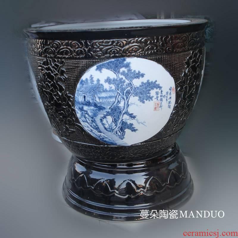 Jingdezhen porcelain dress picture black porcelain black porcelain high temperature with porcelain foot cylinder cylinder