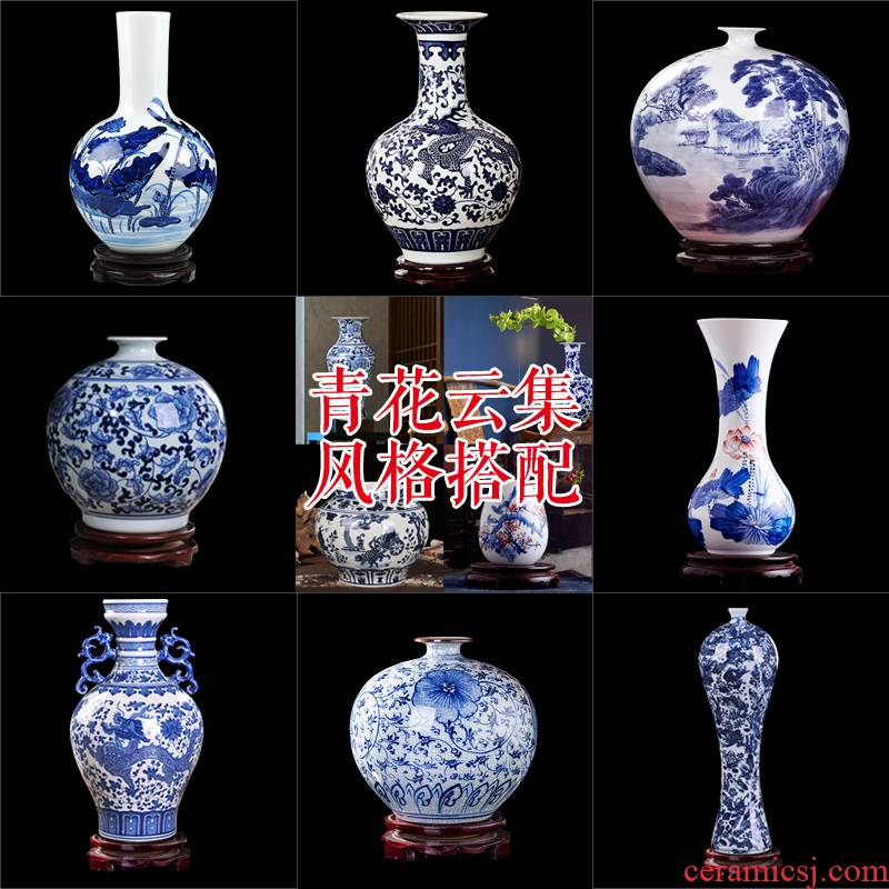 Jingdezhen blue and white porcelain vase wine study office decoration ceramics handicraft furnishing articles package mail sitting room