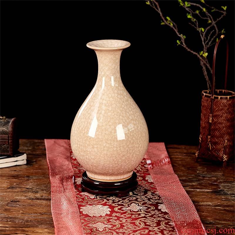 Jingdezhen ceramics vase household ice crack wine study office decoration sitting room furnishing articles
