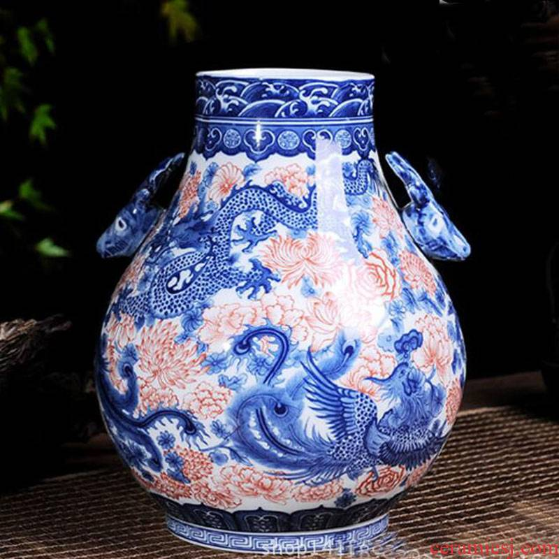 Jingdezhen painting happy auspicious patterns tube display vase deer painting porcelain vases, antique vase