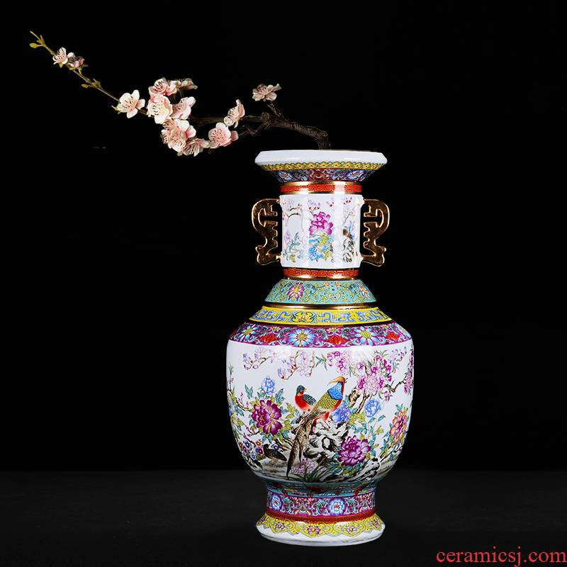 Jingdezhen ceramic household wine ark, adornment handicraft sitting room place, a study of large vases, heavy enamel bottle