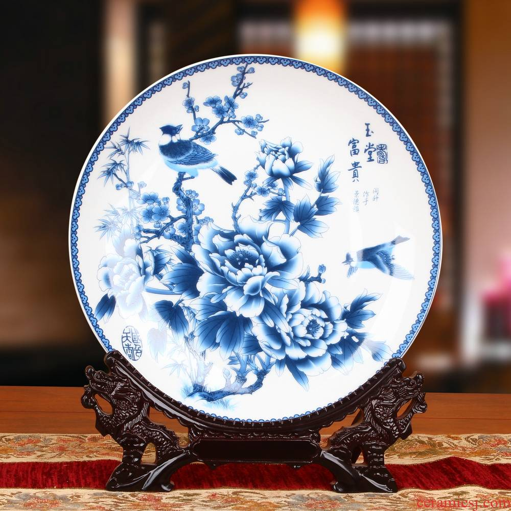 Blue and white peony flowers and birds hanging plate of jingdezhen ceramics faceplate modern Chinese style household decoration furnishing articles