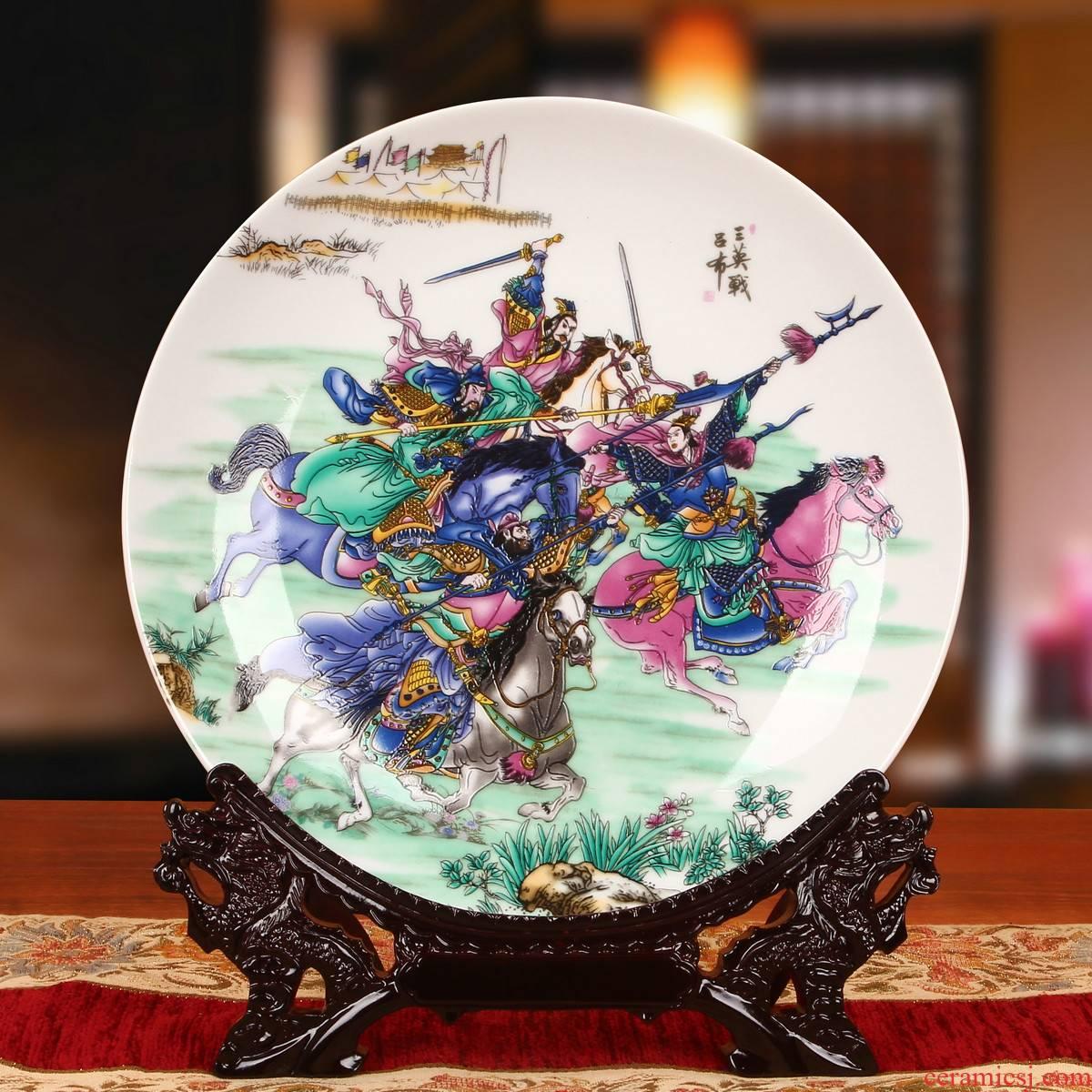 Jingdezhen ceramics three three British war lyu3 bu4 hang dish faceplate Chinese style new classic home furnishing articles