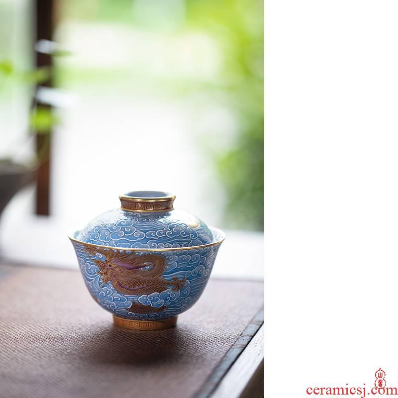 Royal day dragon grain tureen maple hall jingdezhen high - end tea set to make tea tureen single bowl bowl