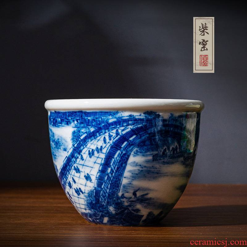 Yihong maintain the jingdezhen blue and white master cup single cup cup firewood hand - made qingming scroll sample tea cup