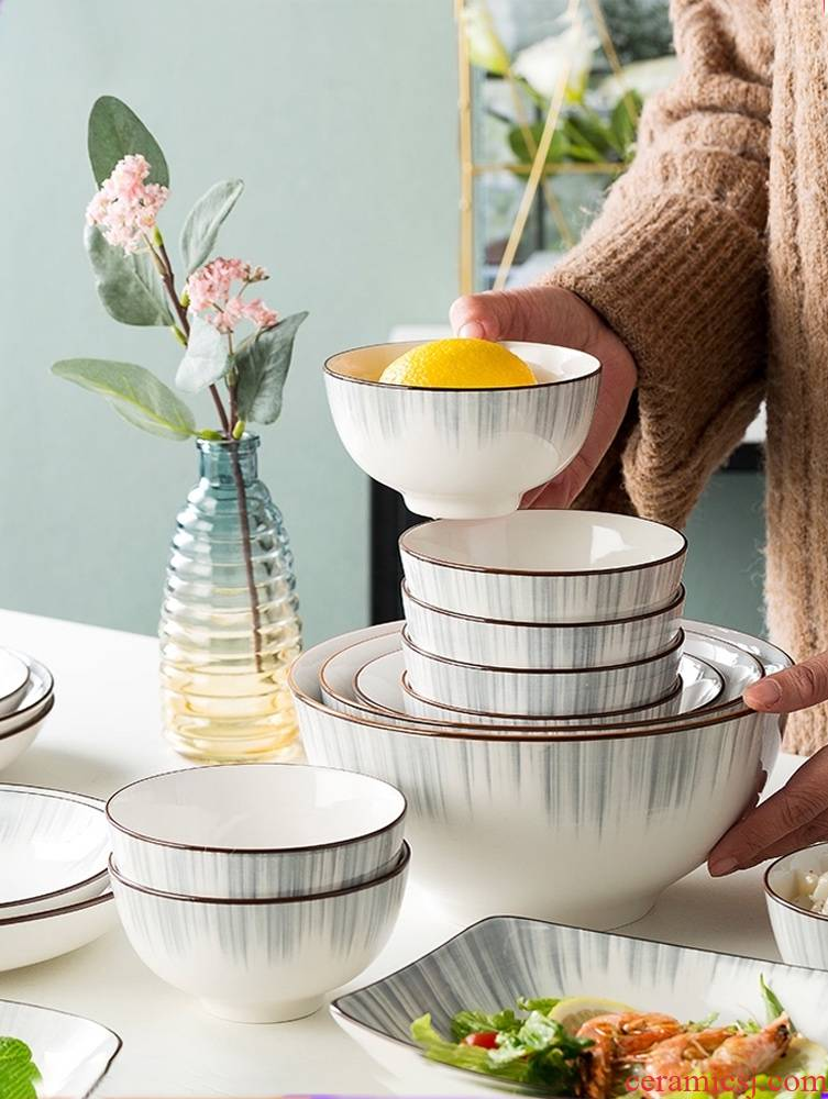 Contracted rice bowls home dishes suit Nordic style tableware creative soup bowl rainbow such use ceramic bowl dish suits for
