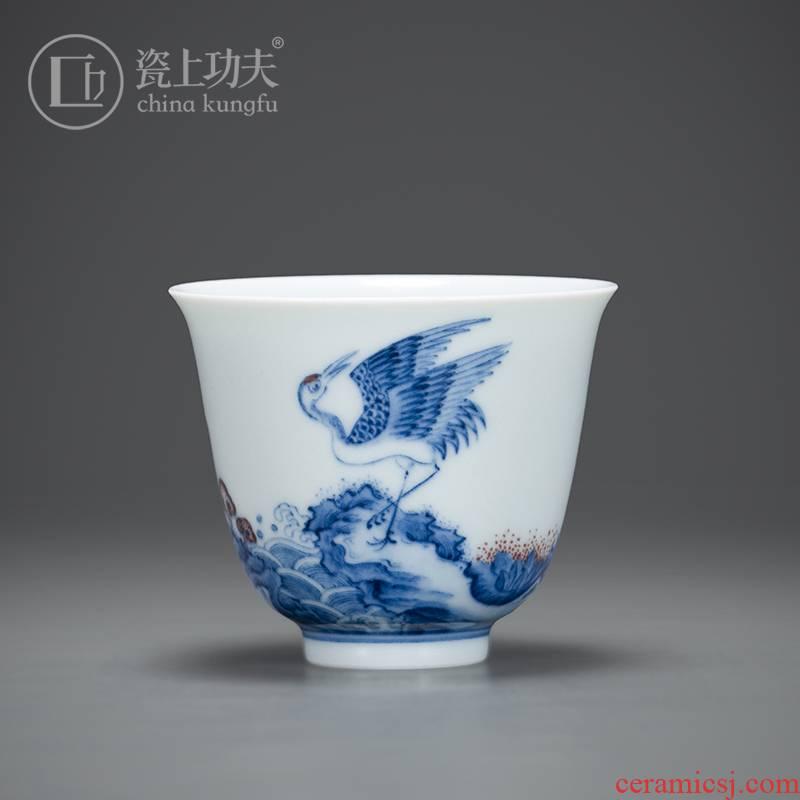 Porcelain kung fu in jingdezhen ceramic blue sea cranes single CPU personal master cup gift sample tea cup