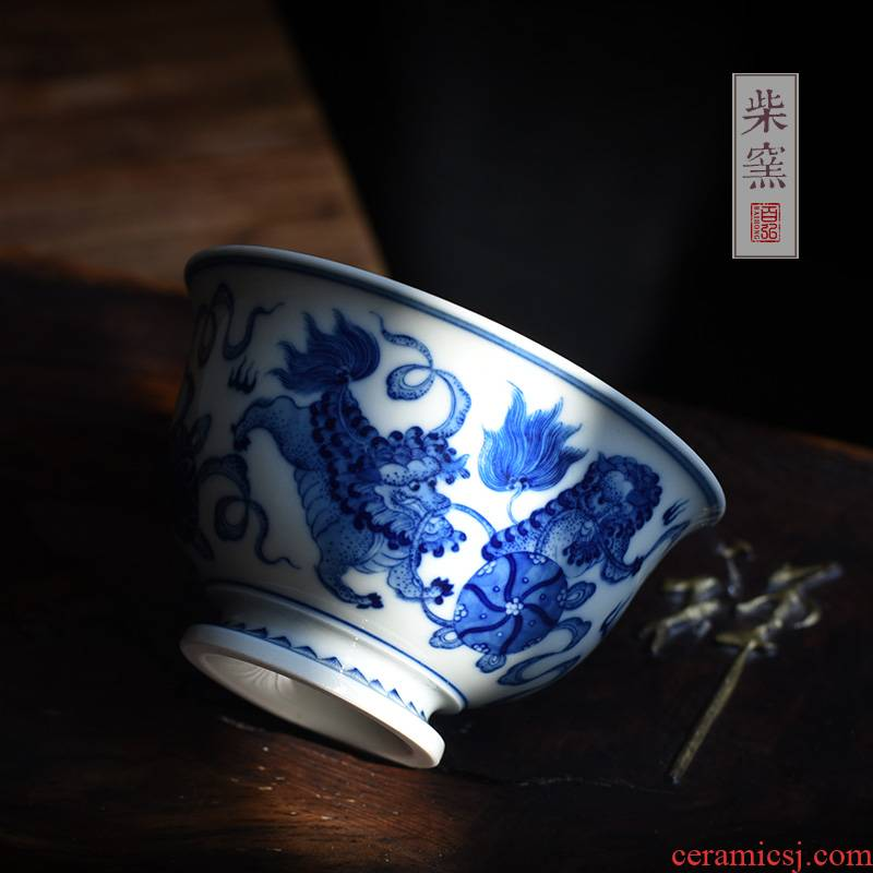 Maintain master cup single CPU jingdezhen ceramic cups hand - made lion roll a ball of blue and white porcelain firewood sample tea cup