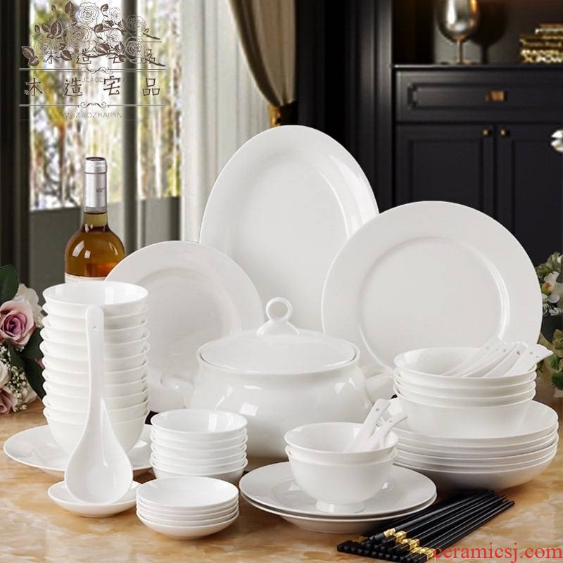 Wooden house product bowls of ipads disc white household tableware suit high - end dishes white porcelain portfolio contracted cutlery sets