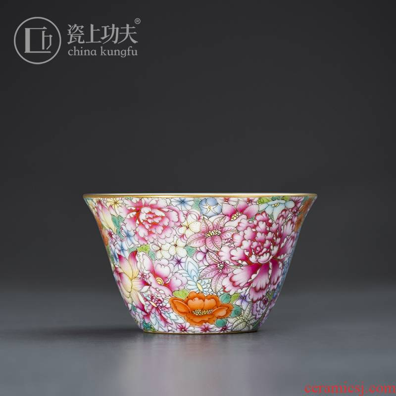 Jingdezhen porcelain on kung fu manual hand - made colored enamel flower master cup product individual single cup tea cup gift cups