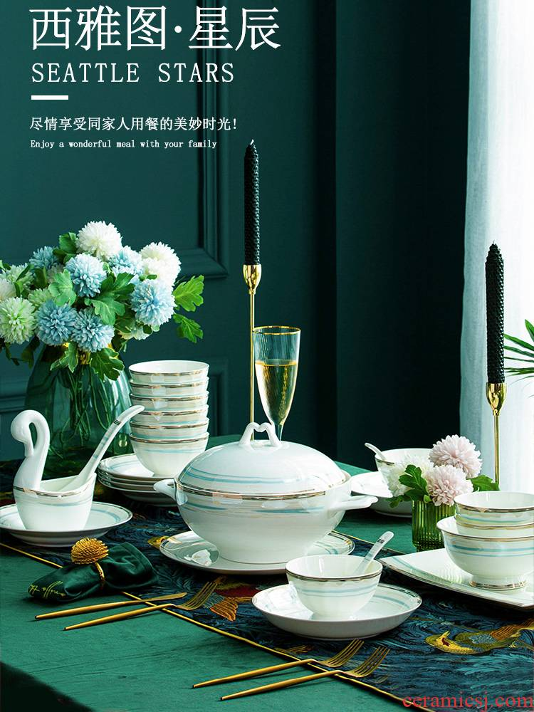 Wooden house product light key-2 luxury jingdezhen high - grade ipads China tableware dishes combination dishes suit household contracted Nordic wind