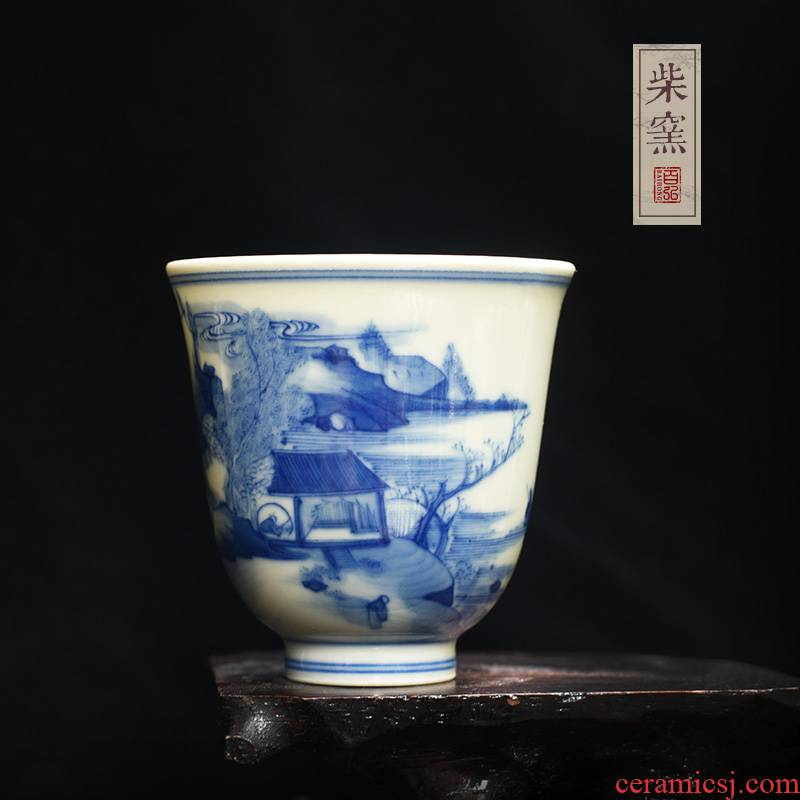 Hundreds of jingdezhen blue and white master cup single CPU hong maintain teacups hand - made firewood lay figure the bell cup sample tea cup