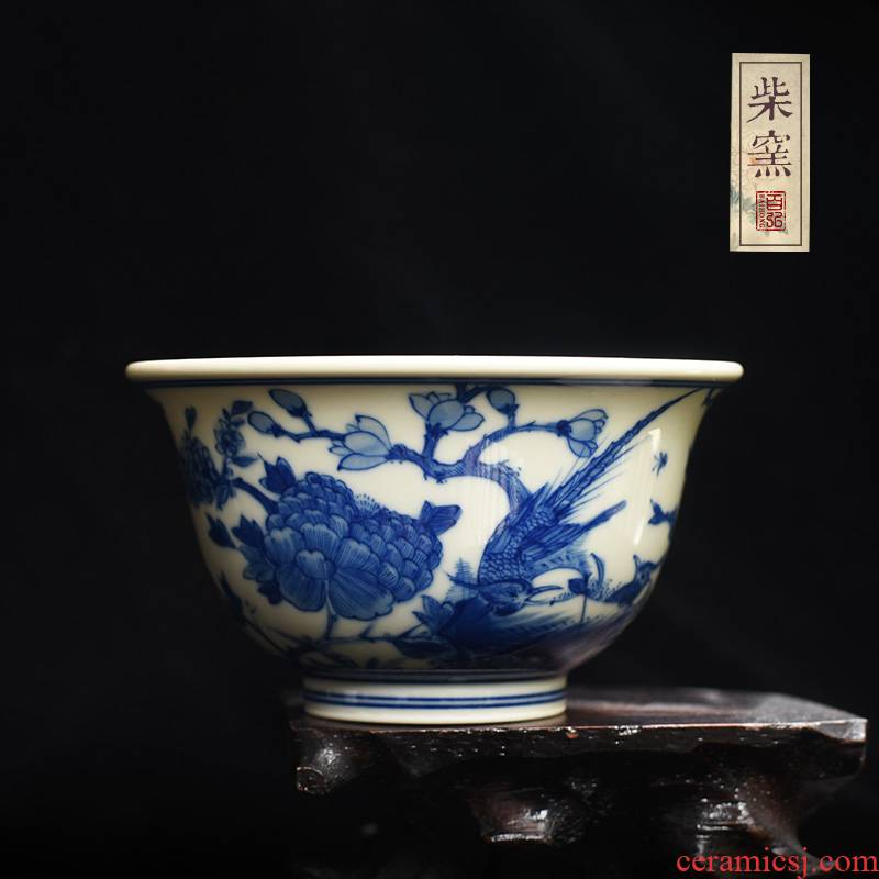 Hundred hong hand cup sample tea cup jingdezhen blue and white future maintain pressure firewood cups master cup single CPU