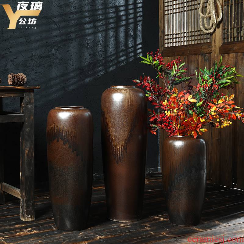 Jingdezhen high temperature ceramic vase color glaze up landing flower arranging flowers screen Chinese style living room hotel villa furnishing articles