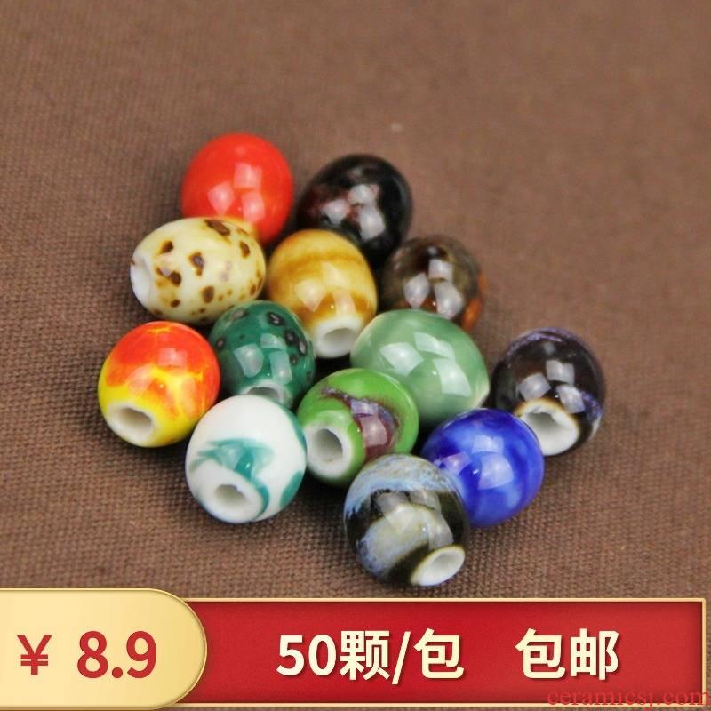 Q ba ceramics glaze ceramic beads scattered beads round bead jingdezhen the ellipse barrel drum bead diy national wind jewelry accessories