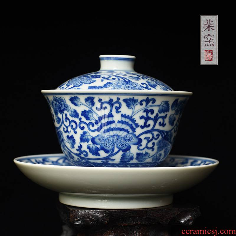 Yihong maintain the blue - and - white tureen jingdezhen tea cups to burn hand made peony branch only three cups of tea bowl