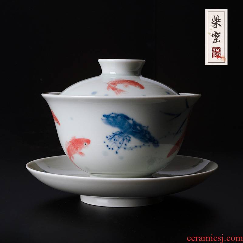Yihong maintain the blue and red color tureen jingdezhen tea cups hand - made every year for more than three cups of tea bowl