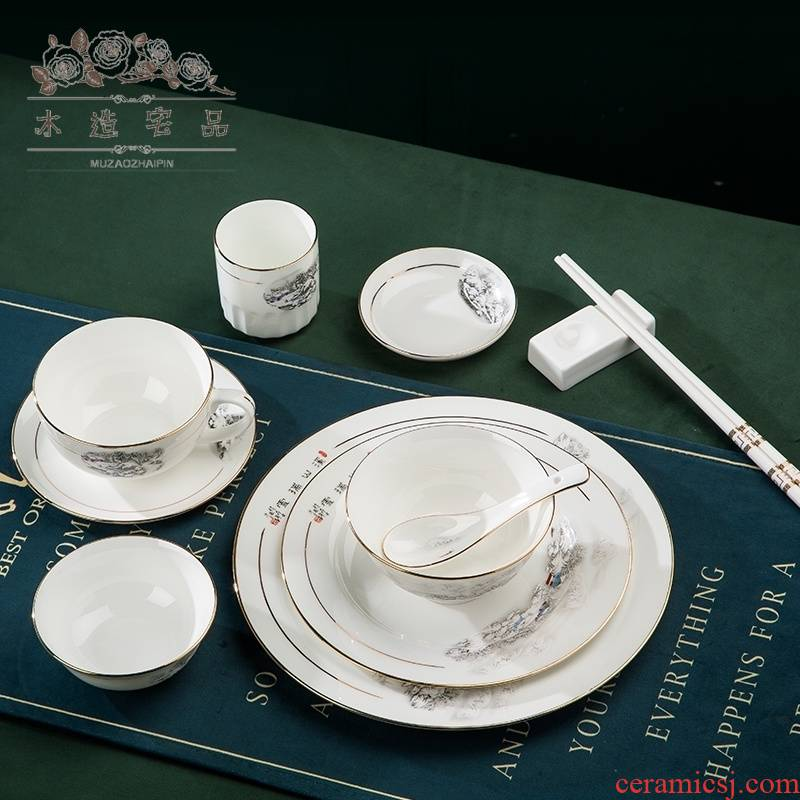 Wooden house product hotel club hotel tableware suit to up phnom penh ipads porcelain ceramic tableware dishes dishes combination